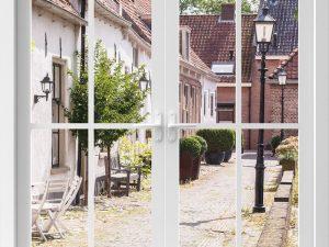 Optische Barriere - Fenster mit Dorfstraße